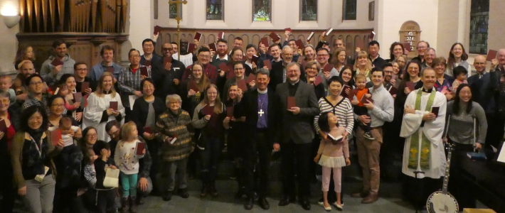 Group assembled in the chancel of Wycliffe Chapel